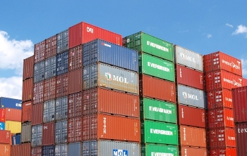 Domestic Intermodal Shipping Containers on Dock